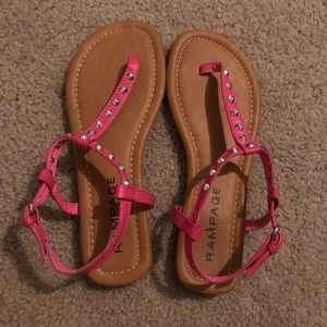 Woman's rampage sandals size 6.5 pink euc studded